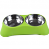 Gamelle inox double avec support Chiens Doggy & Co 14