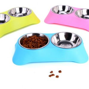 Gamelle inox double avec support Chiens Doggy & Co