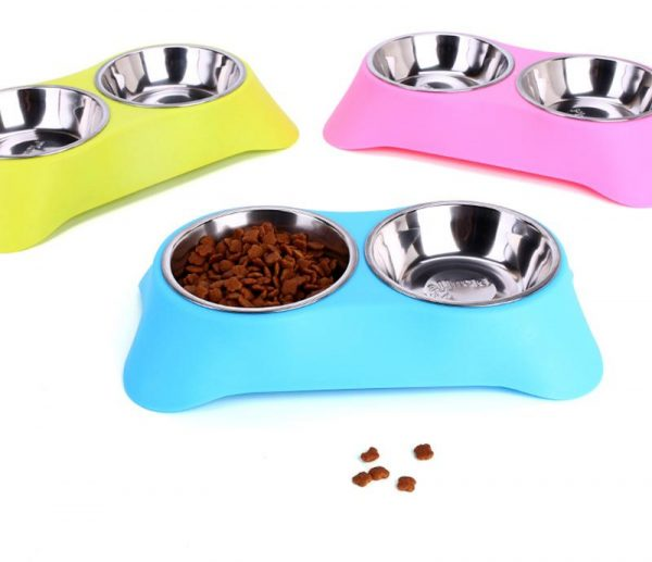 Gamelle inox double avec support Chiens Doggy & Co 3
