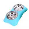 Gamelle inox double avec support Chiens Doggy & Co 20