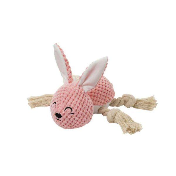 Jouet peluche pour chien lapin rose