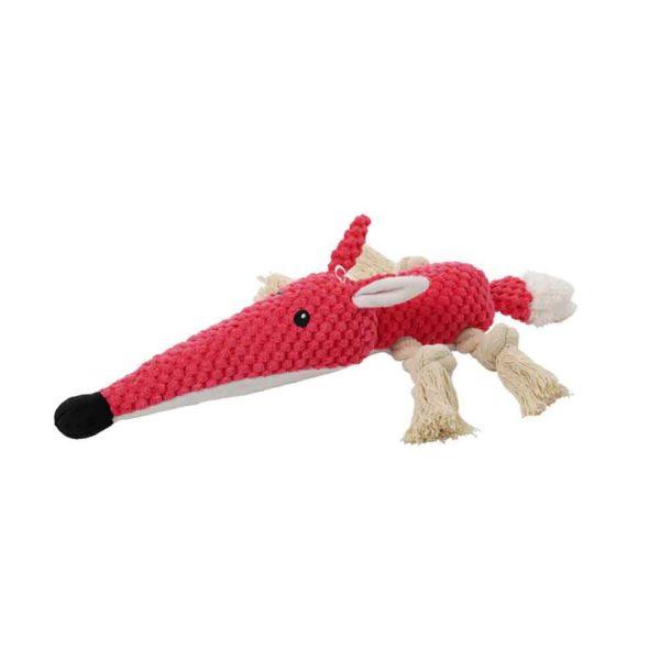 Jouet peluche pour chien renard rouge